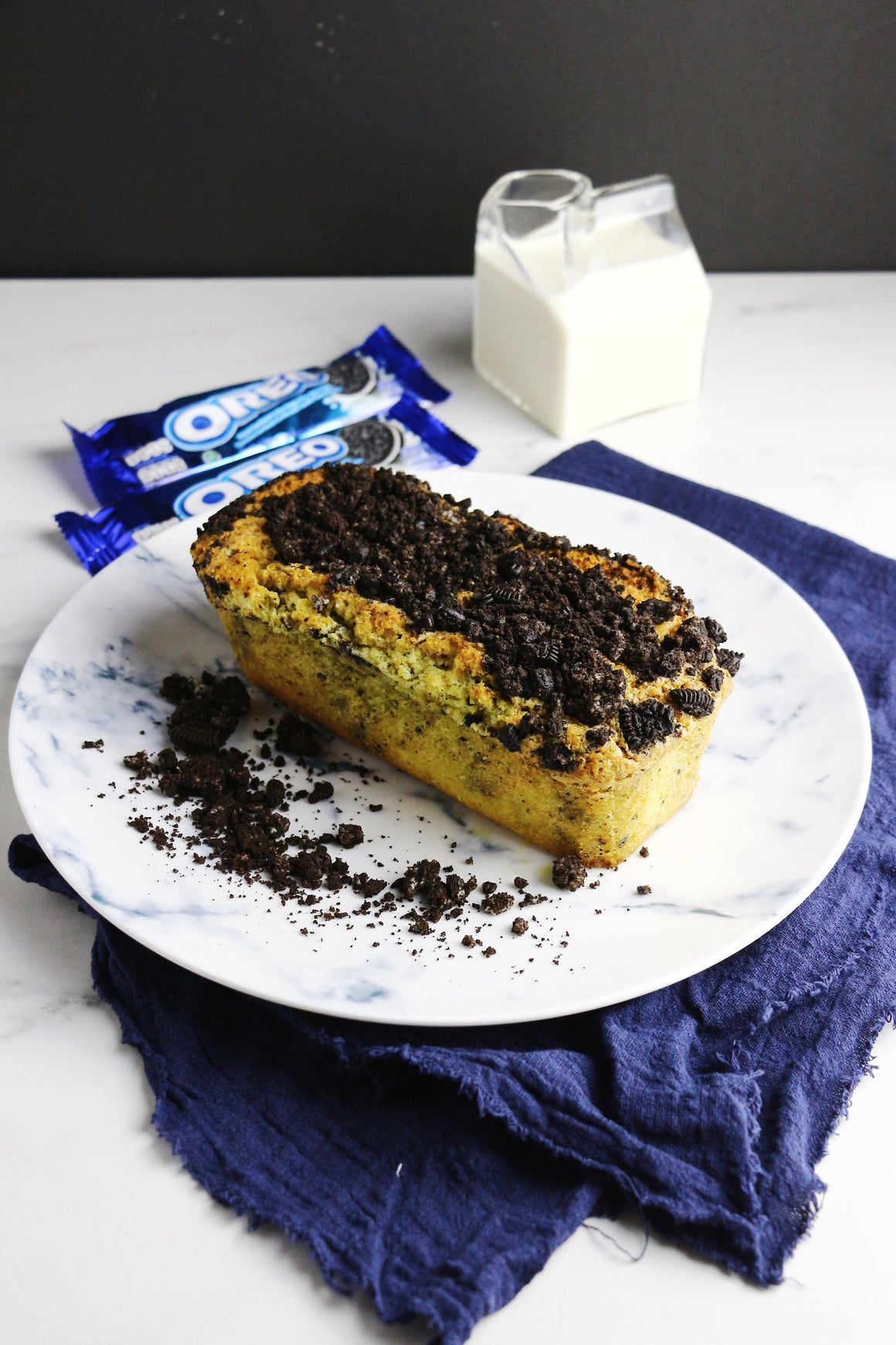 Cookies & Creme Loaf Cakes | Oreo Loaf Cakes w/ Oreo Crunch (makes 2x loaves)