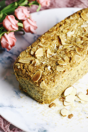 Temp-tea-tion | Oolong Tea Loaf Cakes w/ Sliced Almonds & Demerara Sugar (makes 2x loaves)