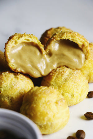 Coffee Crunch Cream Puffs | Demerara Choux Puffs w/ Coffee Pastry Cream (~20 puffs)