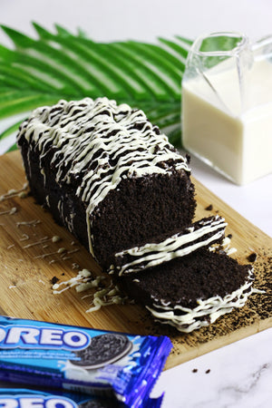 Midnight Madness | Black Cocoa Loaf Cakes w/ Oreo Crunch & White Chocolate Drizzle (makes 2x loaves)