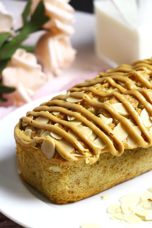 PB Party | Cinnamon Loaf Cakes w/ Sliced Almonds & Peanut Butter Drizzle (makes 2x loaves)