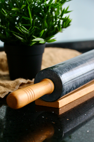 Black Marble Rolling Pin with Solid Wood Handle & Holder [Large-size]