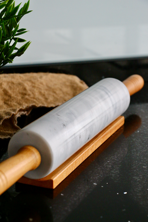 Natural Marble Rolling Pin with Solid Wood Handle [Large]