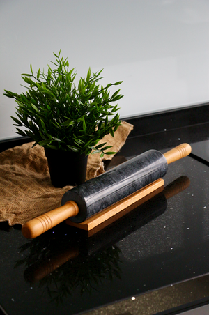 Black Marble Rolling Pin with Solid Wood Handle & Holder