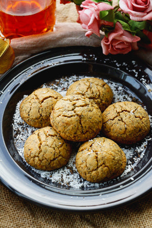 Cha Cham Bo | Thai Tea Coconut Cookies (~24 cookies)