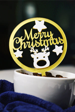 Merry Christmas w/ Chubby Reindeer Cake Topper