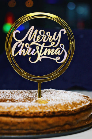 Merry Christmas (Iridescent) Cake Topper