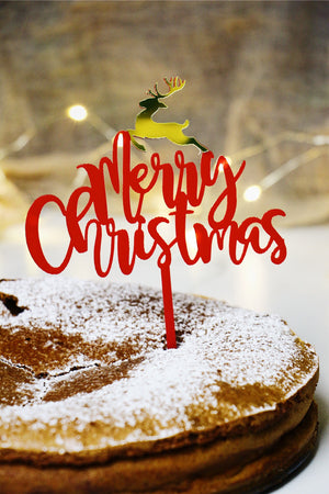 Merry Christmas [Red] w/ Gold Reindeer Cake Topper