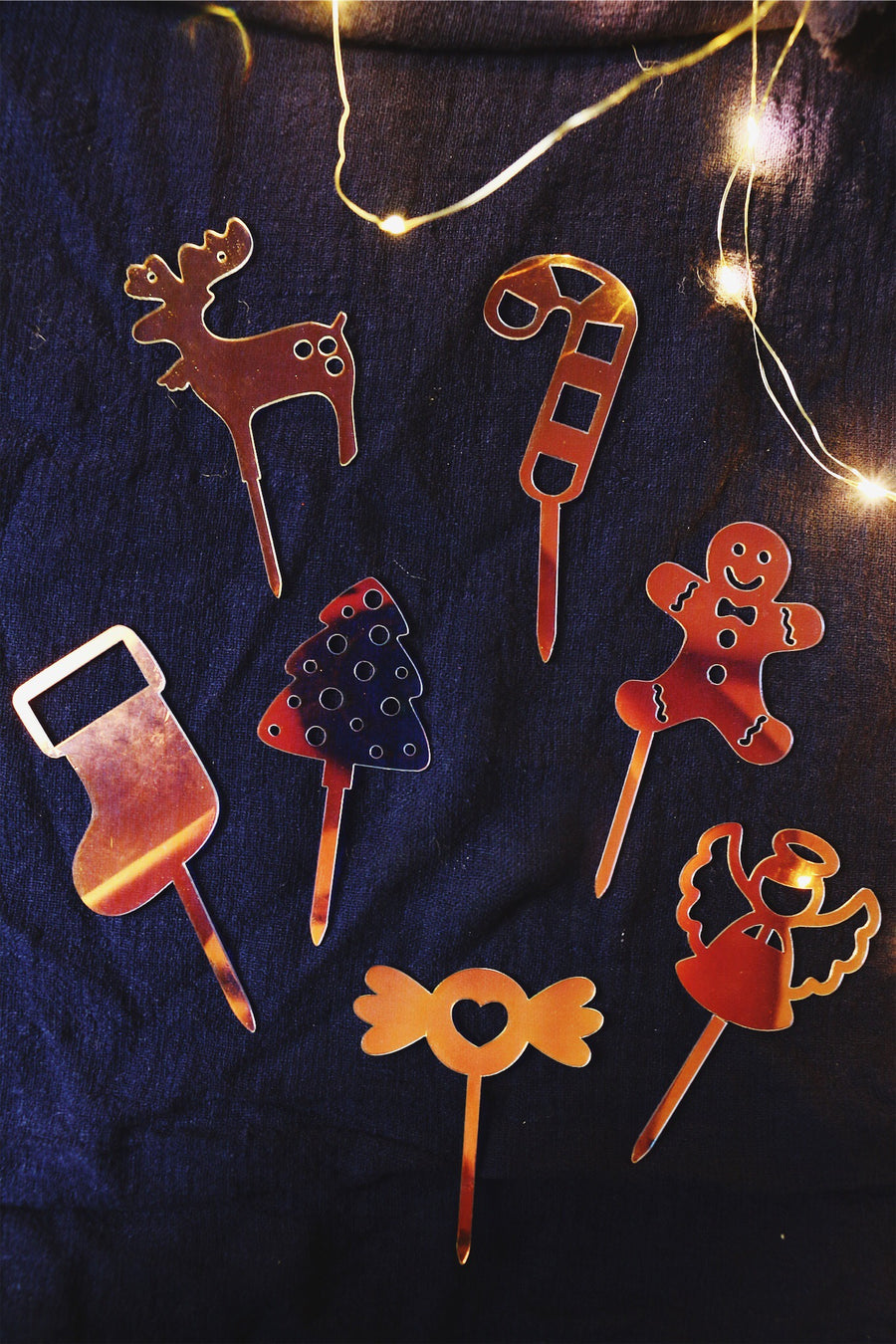 Assorted Christmas Cake Toppers (Set of 7)