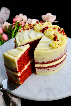 "Red Velvet Semi-Naked Cake with Rosette Details (2x 6"" layers)"