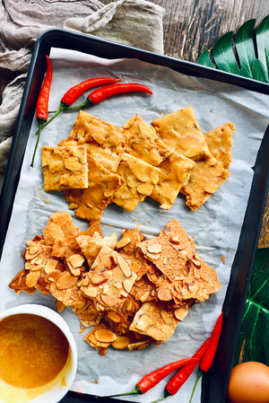Salted Egg Yolk Almond Crisps/Tuiles (makes 80–100 crisps)