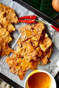 Salted Egg Yolk Almond Crisps/Tuiles | makes 80–100 crisps