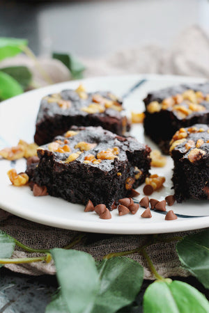 Chip, Choc, Cocoa Pop! | Dark Cocoa Walnut Chocolate Chip Brownies (~16 slices)