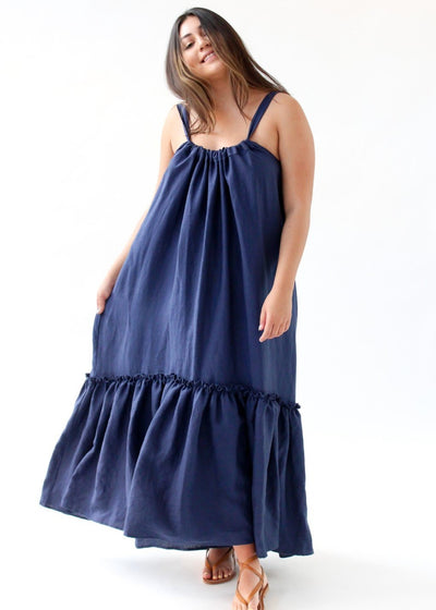 ELIZABETH Ellie Dress in Navy | Womens Designer Clothing