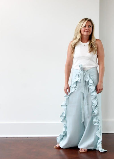 ELIZABETH June Wrap Pant in Sky Blue