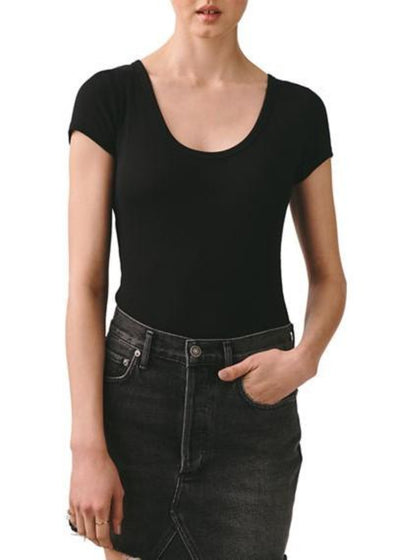 AGOLDE Short Sleeve Rib Bodysuit in Black | Tula's Online Boutique