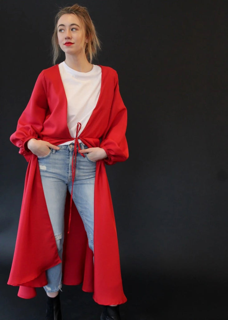 ELIZABETH Silk Robe in Red | Boutique Clothing Website