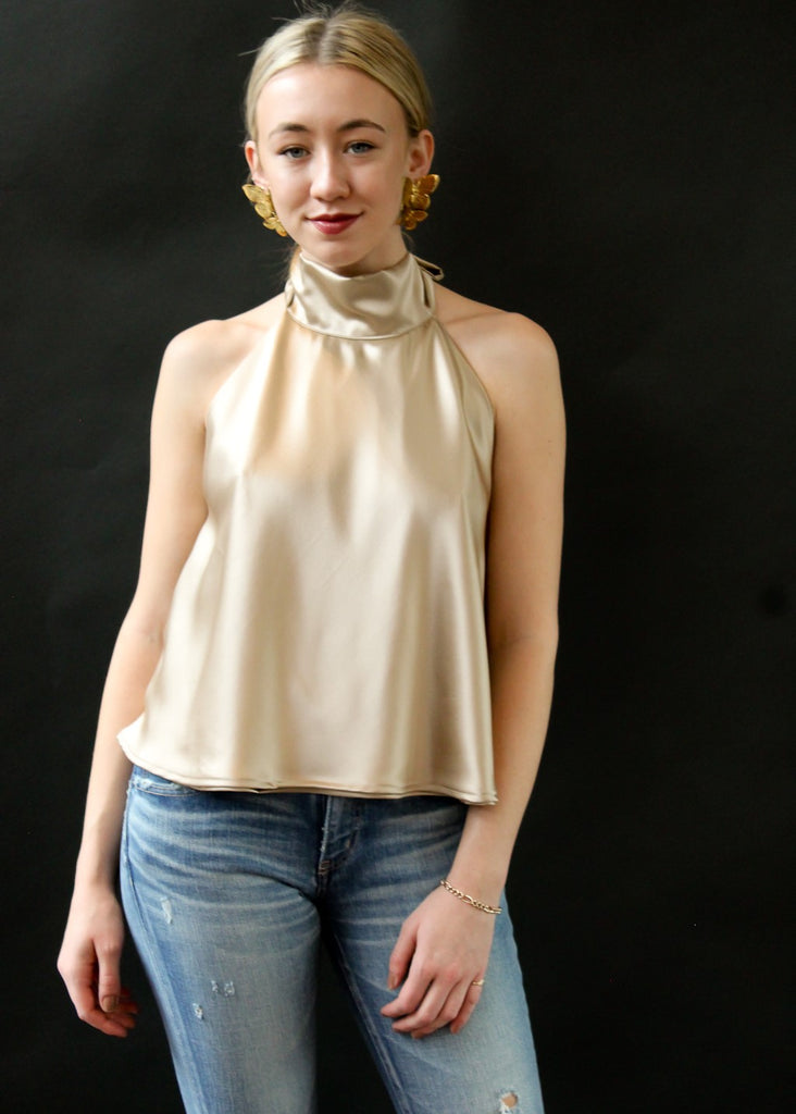 ELIZABETH May Halter Top in Gold | Tula's Online Boutique