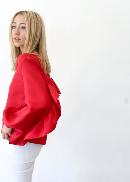 <h1>ELIZABETH Ruffle Top in Red</h1>