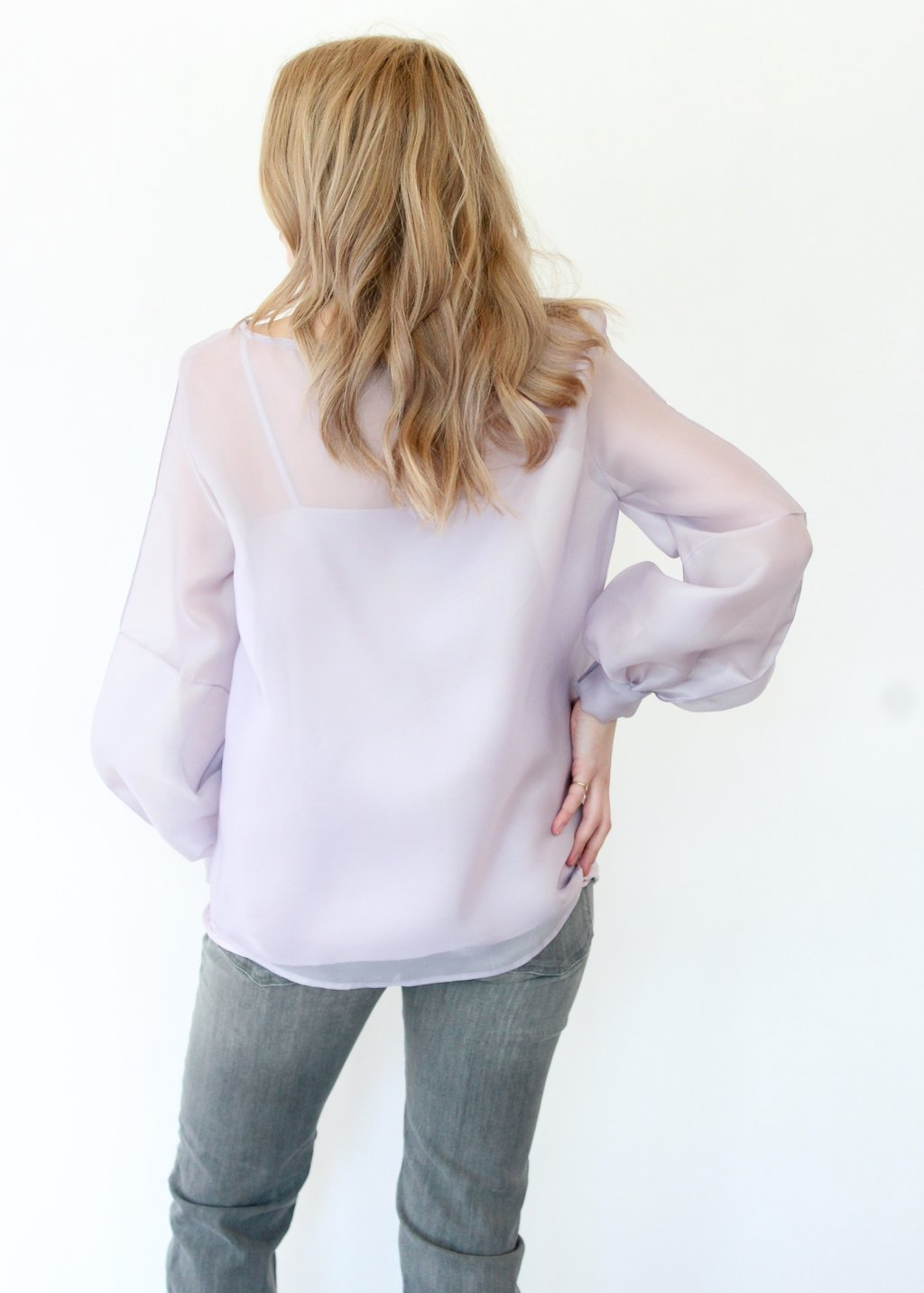 ELIZABETH Organza Stripe Sleeve Top in Lavender - Tula Designer Boutique