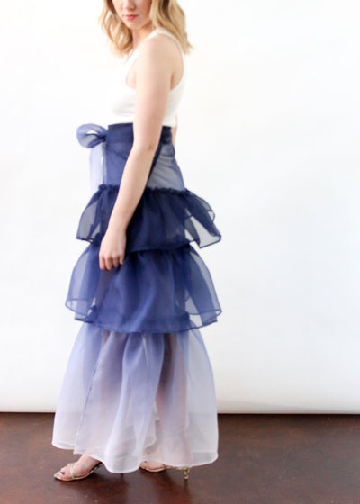 ELIZABETH Carrie Silk Skirt in Navy