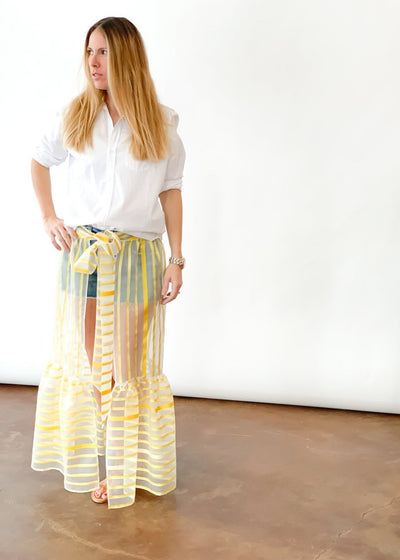 ELIZABETH Striped Wrap Skirt