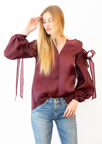 ELIZABETH Organza Bow Sleeve Top - Shop Tula