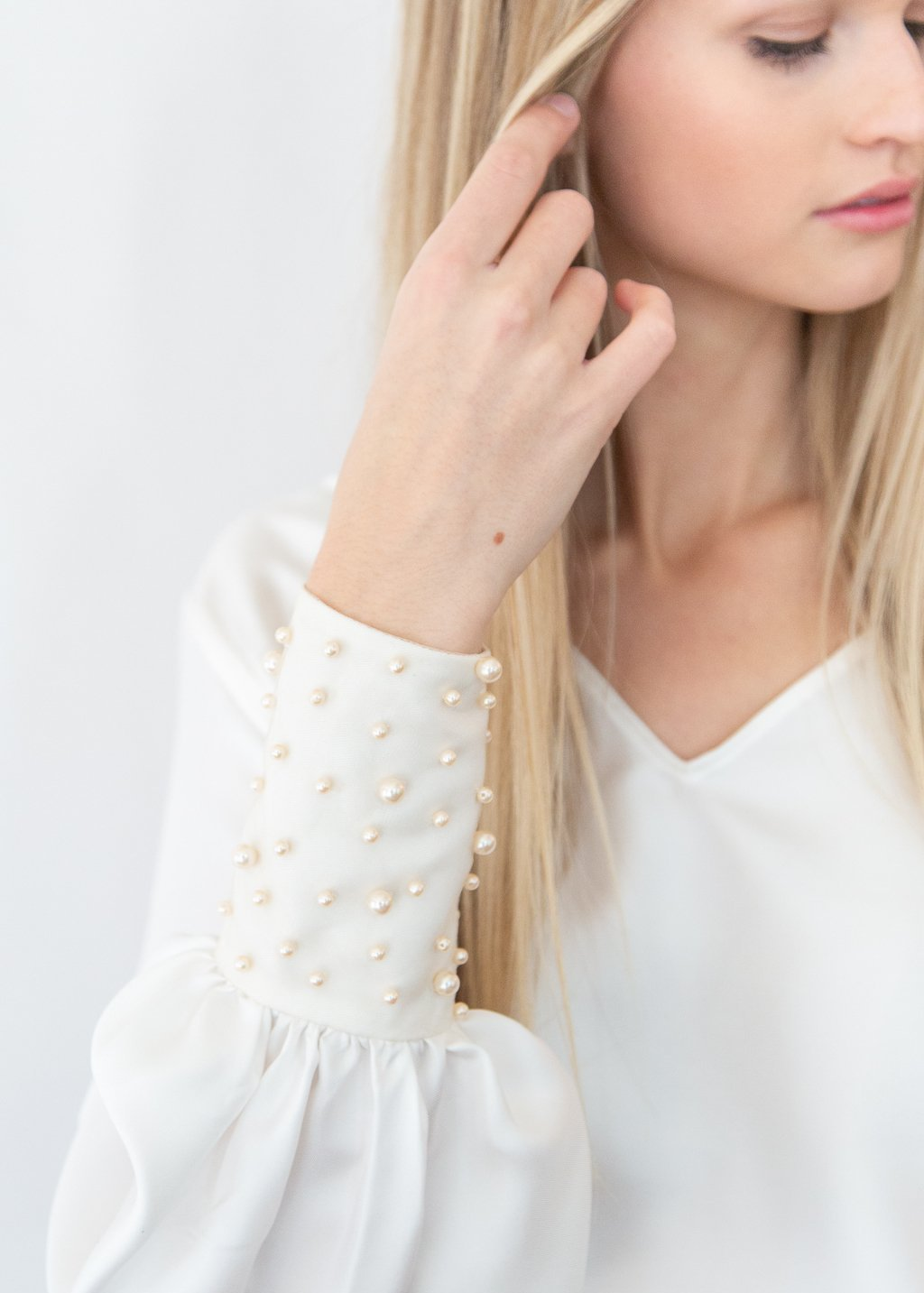 ELIZABETH White Pearl Cuff Top - Shop Tula