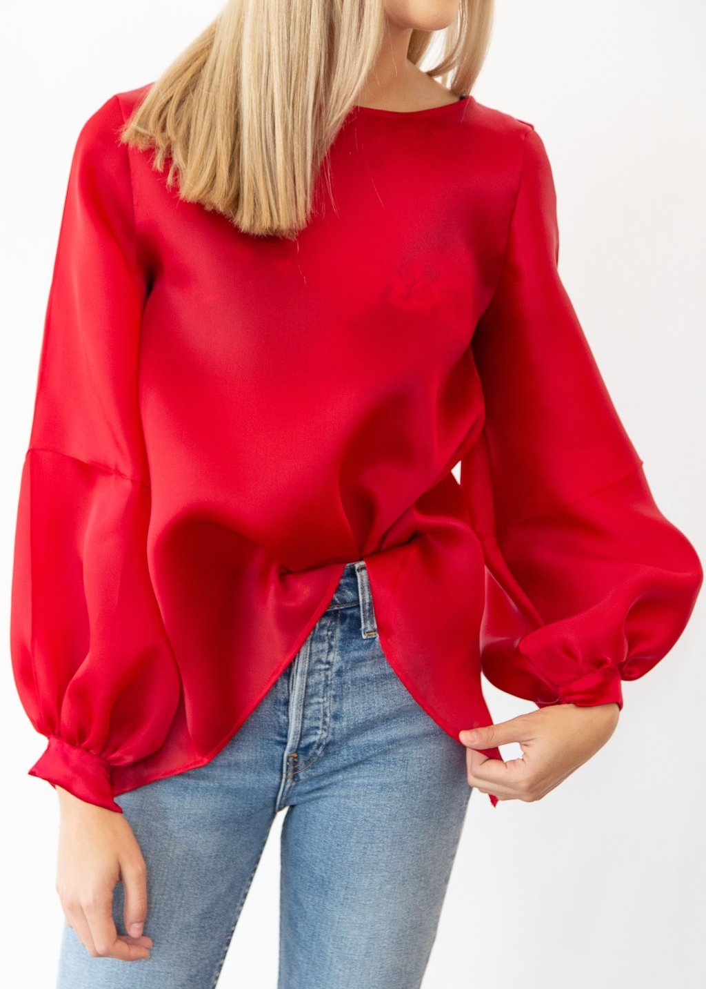 ELIZABETH Organza Stripe Sleeve Top in Red - Shop Tula