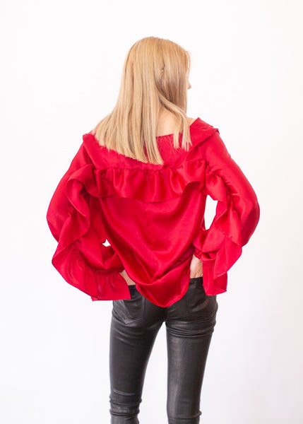 ELIZABETH Ruffle Top in Red - Shop Tula