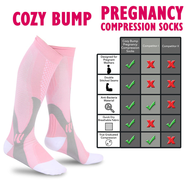 Cozy Bump Pregnancy Compression Socks - High Quality - Relieve Foot & Leg Pains - Prevent Blood Clotting & Varicose Veins - Reduce Swelling - Cozy Bump