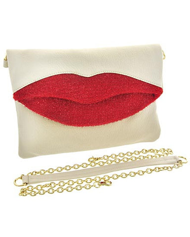 Lips Clutch In Beige