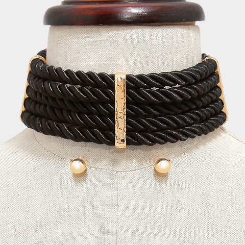 Black Braided Choker Necklace