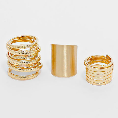 Gold Metal Ring Set