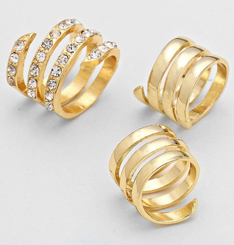3-PCS Spiral Ring Set