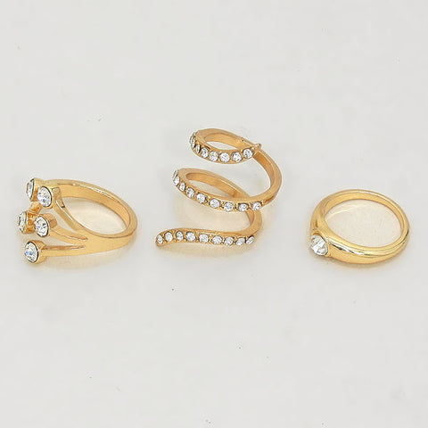 Gold Studded Ring Set