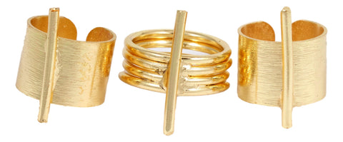 Gold Metal Punk Ring Set