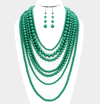 Green Bead Bib Necklace
