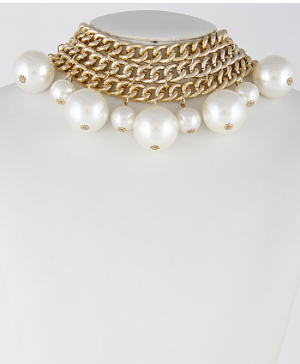 Chains&Faux Pearls Necklace