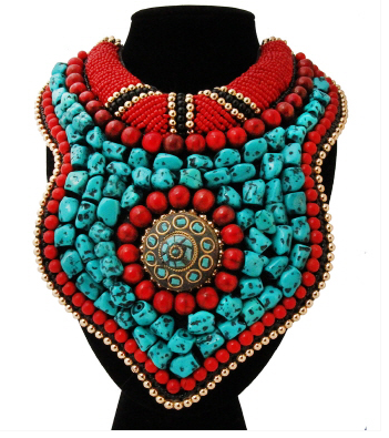 African Beaded Bib Necklace