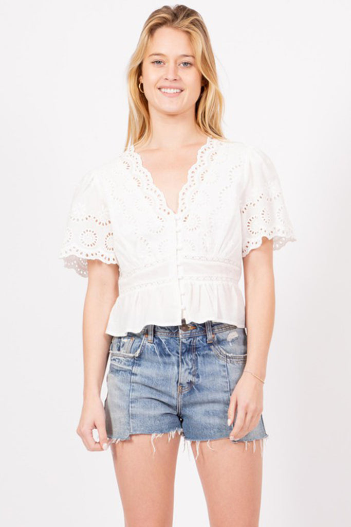 New You Eyelet Crop Top