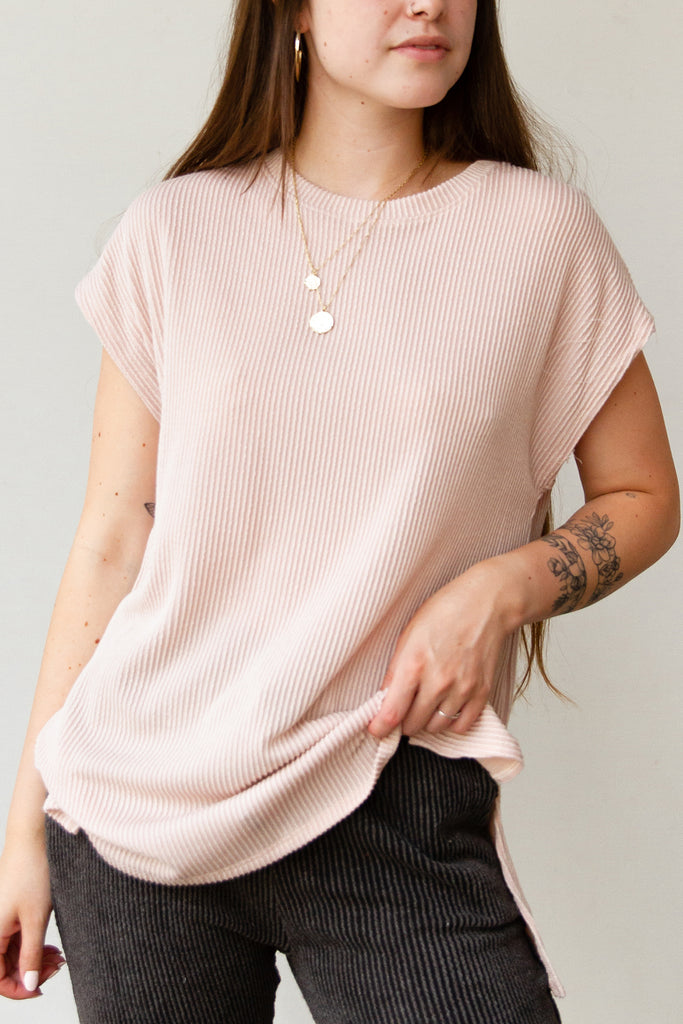 pink ribbed short sleeve tee shirt