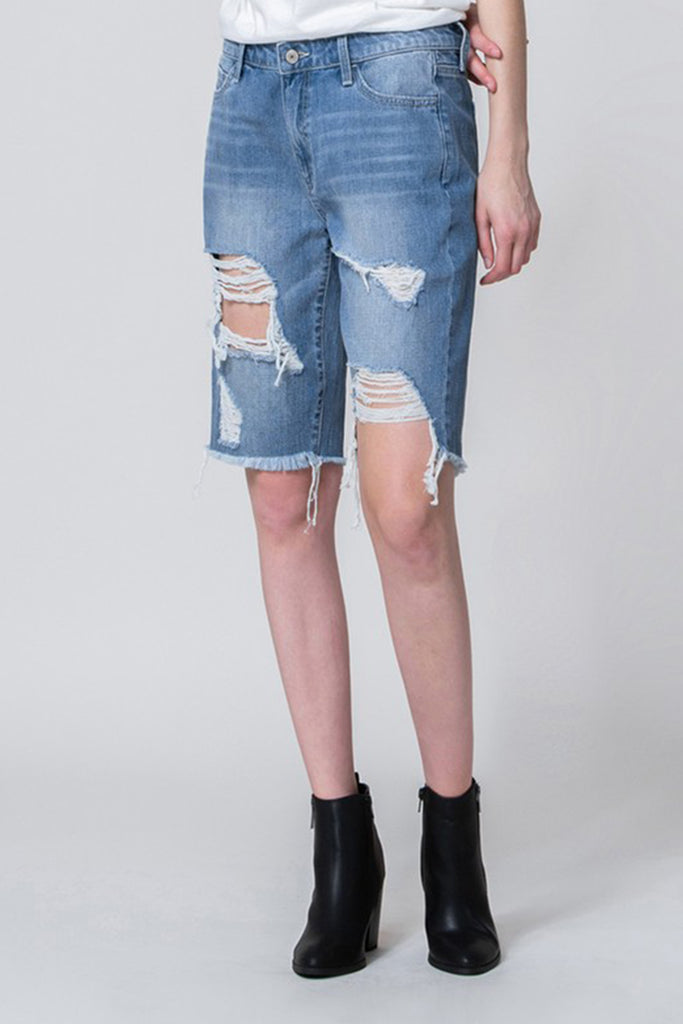 Medium Wash Mid Thigh Shorts