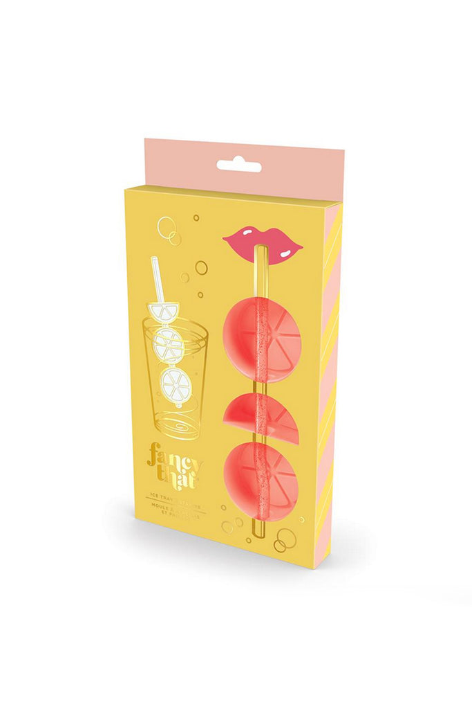 peach colored fruit ice tray with straw