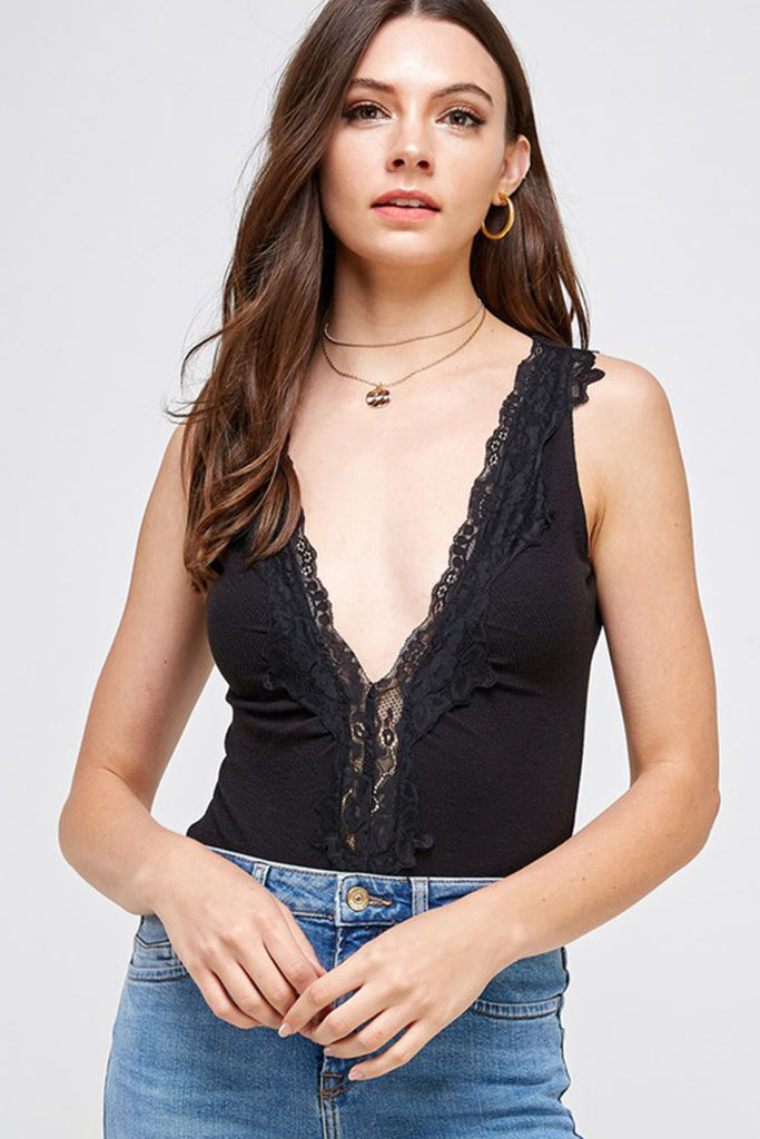 Black Sleeveless Bodysuit
