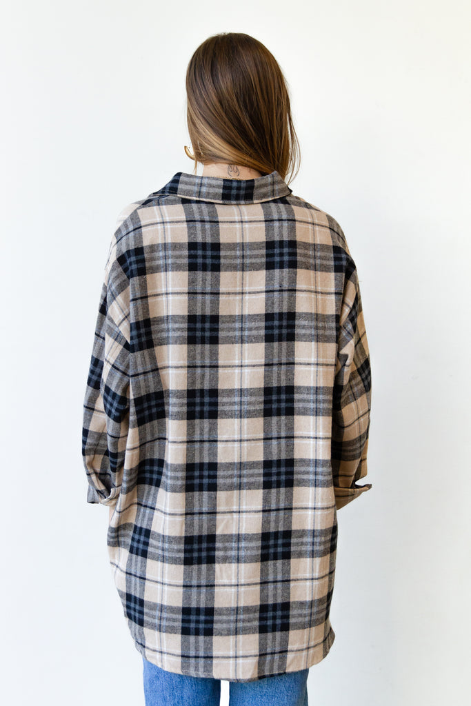 beige and black plaid flannel top