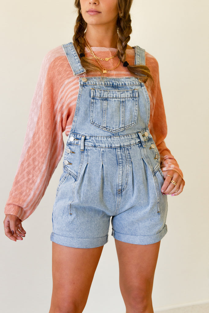 light wash pleated denim overall shorts