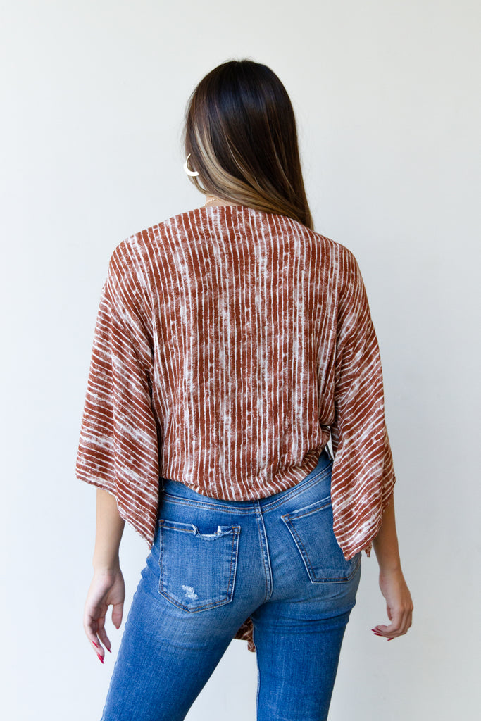 patterned front tie top