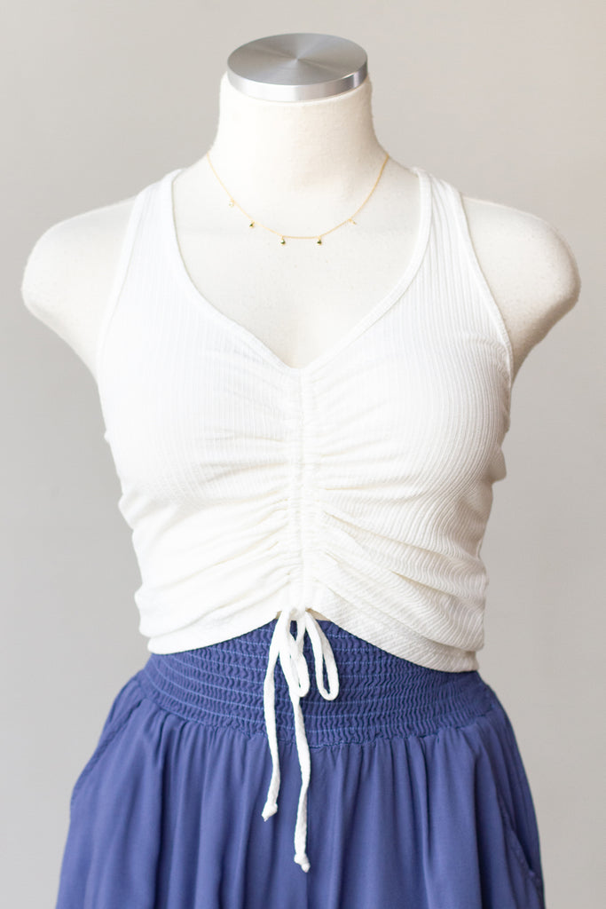 Soft Side Cinched Crop Top