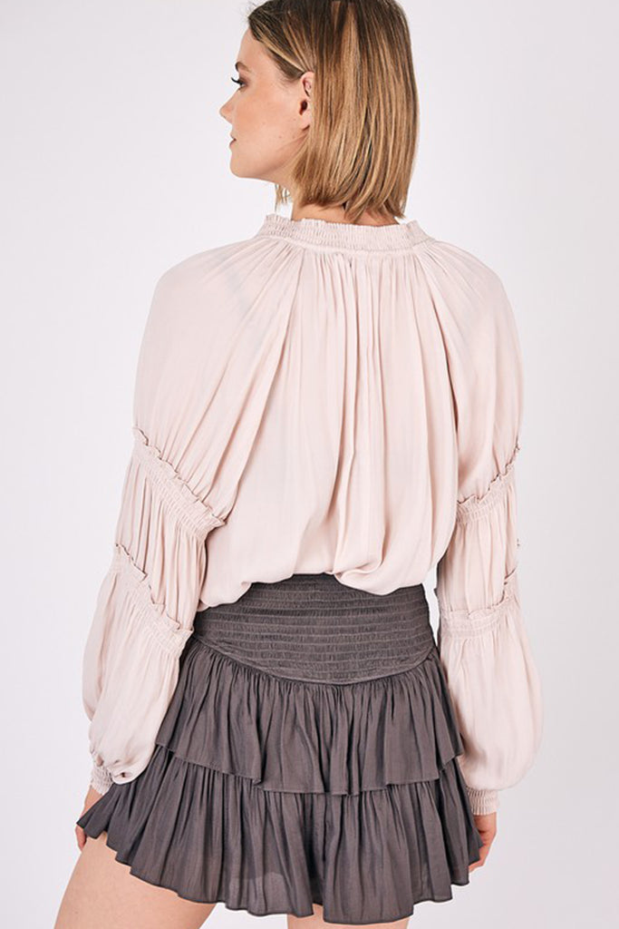 natural balloon sleeve top
